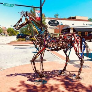 horse sculpture in downtown Anderson